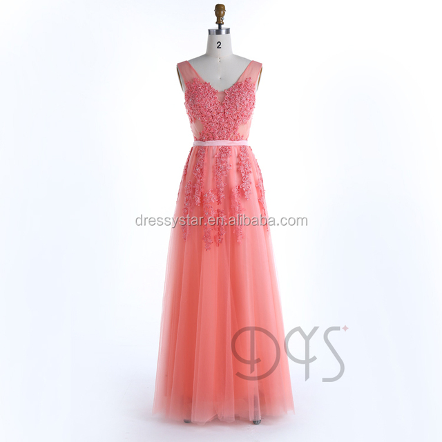 2017 Elegant long coral lace appliqued revealing bridal bridesmaid dress
