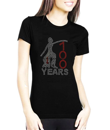 Delta 100years Popular Fashion Rhinestone Motif T shirt