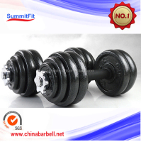 Cast iron painting 50kg adjustable dumbbell weights set with rubber handle bar for sale