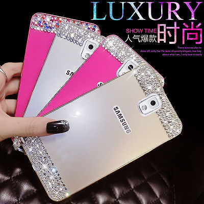 Bling crystal Metal Bumper Frame Case Back Cover For Samsung Galaxy note 4 3 N9000 S5 i9600 G900 S4 S6 S6 edge rhinestone case