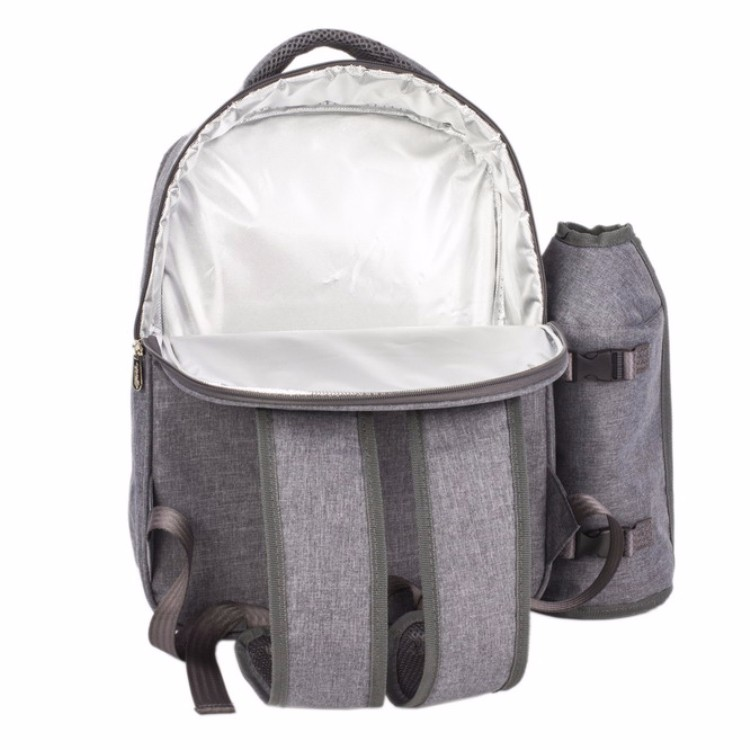4 Person Picnic Backpack with cooler compartment/padded straps/wine holder/front pocket