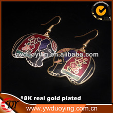 stock 18K real gold plated Beautiful Black Cloisonne Elephant Earrings
