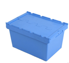 Heavy Duty Plastic Moving Boxes Attached Lid Containers Industrial Folding Tote Box For Warehouse