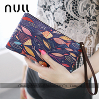 NULL design country flag style Long printing style leather woman clutches wallet