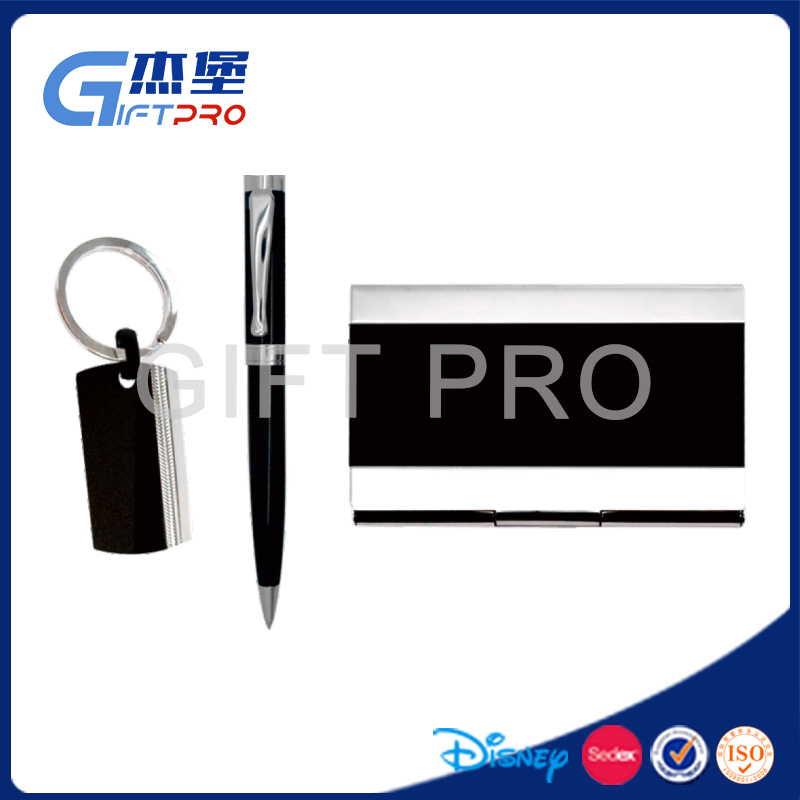 Promotional Souvenir gift leather card hoder and pen business gift set