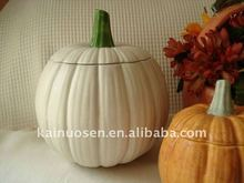 Ceramic White Pumpkin with lid