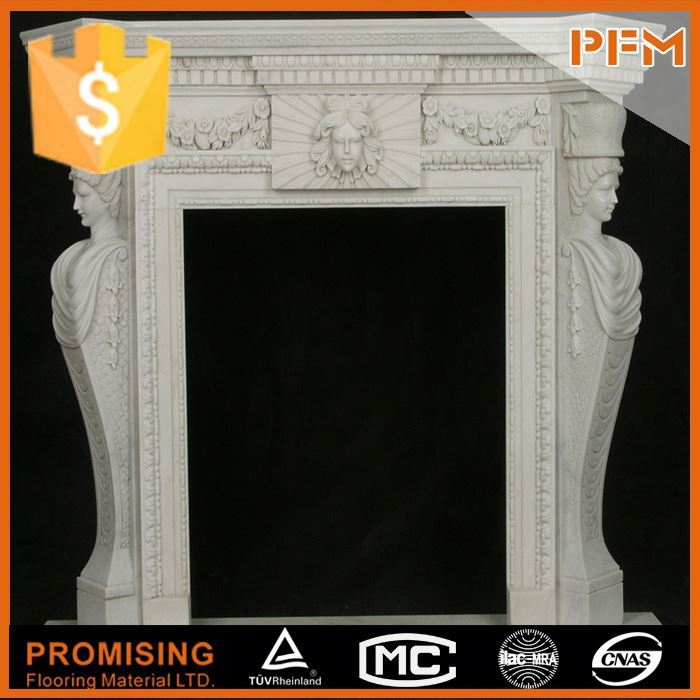 Baroque style natural stone carved outdoor chimney