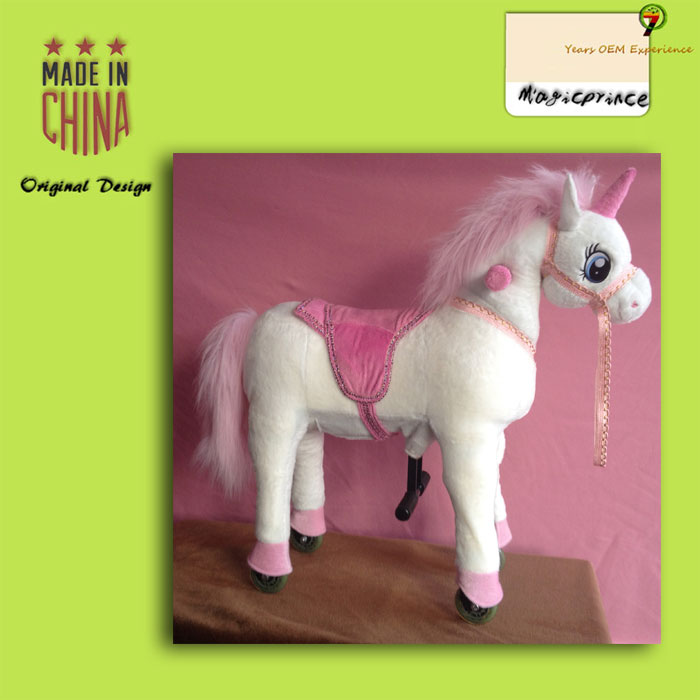 Nice gift classic plush stuffed animal rocking toys for kids, toy horse on wheels of all ages kids