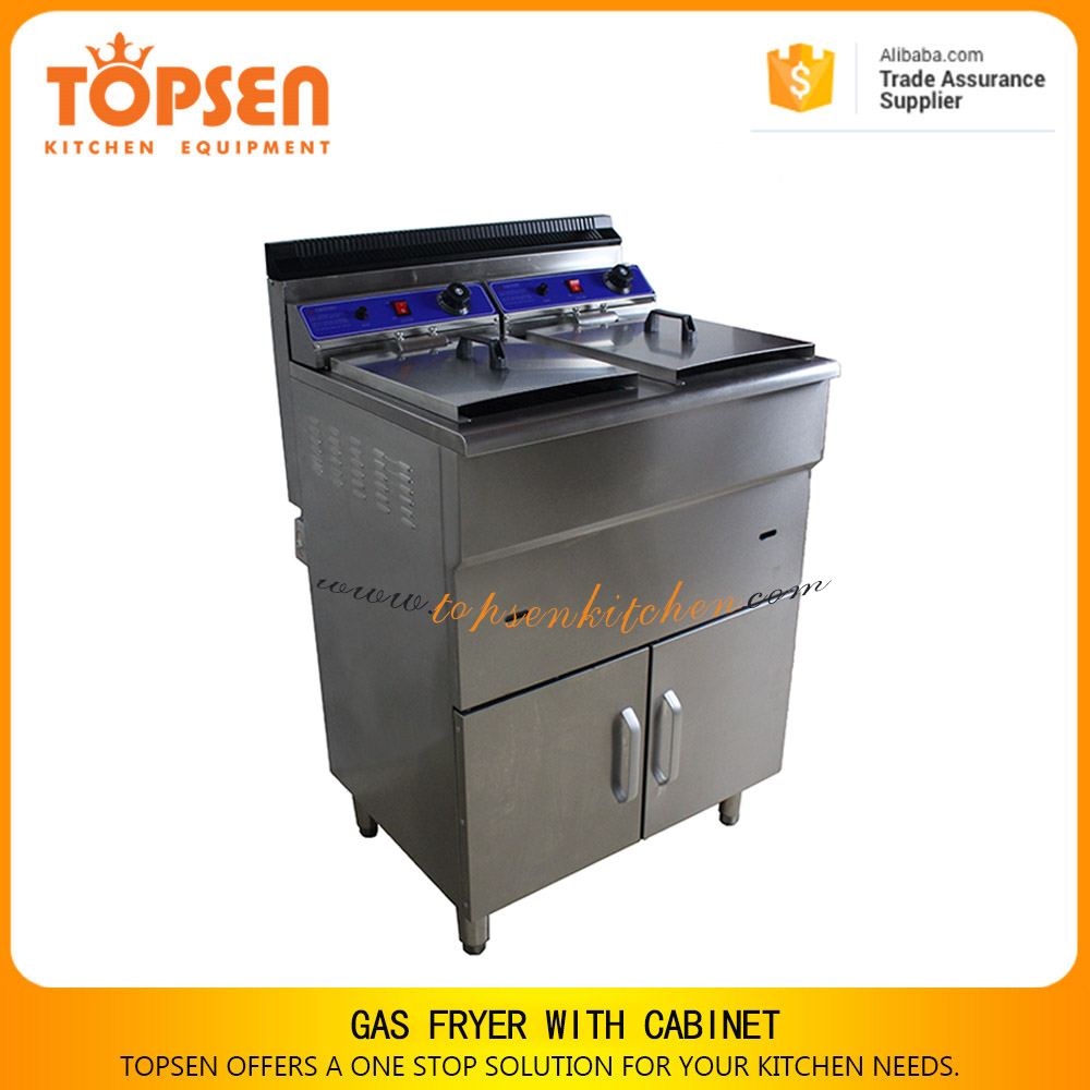 Large capacity kfc pressure fryer, turkey fryer,48L+48L double tank lpg gas gari frying machine with cabinet