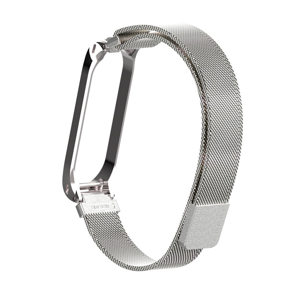 HOLDMI ODM 43026 series silver color stainless steel miband 4 strap milanese loop for mi band 4 and 3