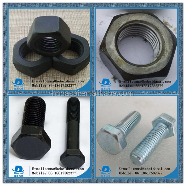 China products Din933 931 grade10 8 6 4  m30/m32 hot dip galvanized/zinc plated/black hex nuts
