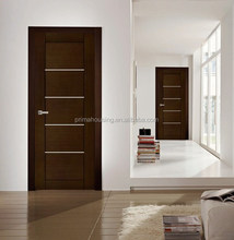 Simple design solid wood walnut color entry door & room door & hotel internal door set