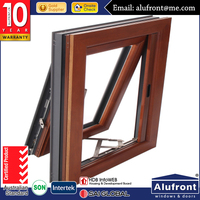 Guangzhou Alufront 10 years warranty aluminum clad timber wood composite top hung windows