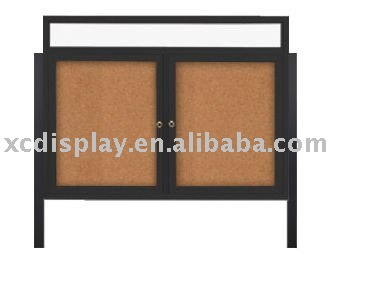 Outdoor Enclosed Bulletin Board Swing Cases with Header and Leg Posts (Multiple Doors)