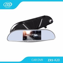 "Newest 5.0"" HD 1080p blue glass rearview mirror dualcamera car black box,2 channel car black box dvr car"