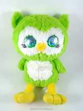 Bright Big Eyes Plush Green Owl Toys Light Up Eyes Toys