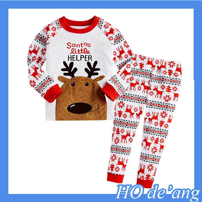 Hogift NEW Reindeer Toddler Kid Boys Girls Christmas pajama T shirt+long pants