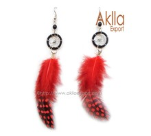 Assorted colors Natural Feather Earrings with Dreamcatcher