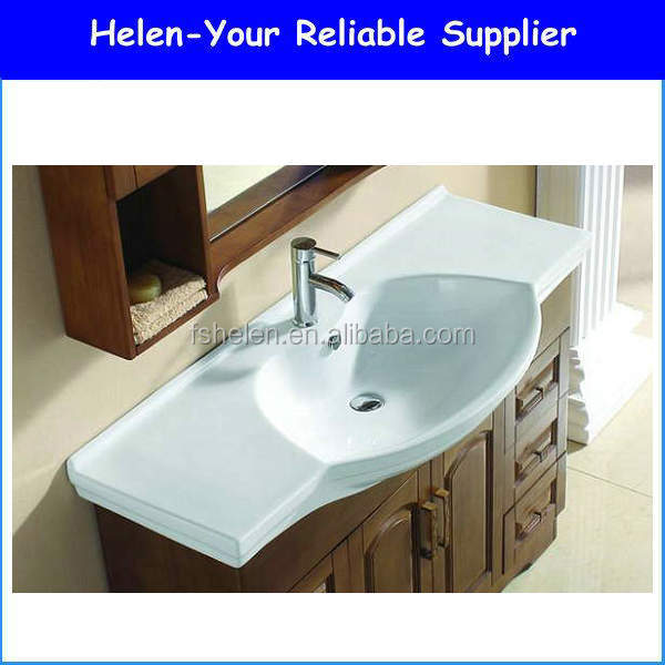 Wholesale Porcelain Material Ceramic Bathroom Sink Drop in Cabinet Washing Basin Countertop Basin No.321