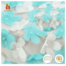 China wholesaler 3D flower applique laser cut african tulle lace fabrics for party