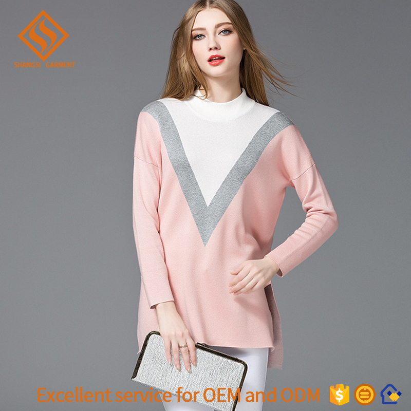women crew neck knitted v kintting pattern plain colour long sleeve women sale apparel knit pullover ladies stylish sweaters