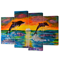4 Panel Wall Art Cororful Sea Sunset with Jumping Dolphins Abstract Animal Picture Prints on Canvas Home Decor - Wholesale