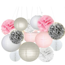 UMISS 14 White Pink Gray Paper Crafts Tissue Paper Honeycomb Balls Lanterns Paper Pom Poms Birthday Wedding Party Decoration