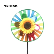 VERTAK top quality outdoor pinwheels lawn garden wind pinwheel/colorfully sunflower <strong>windmill</strong> pinwheel