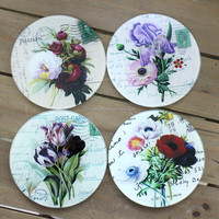 flower glass coasters with photo dye sublimation print temper glass coaster