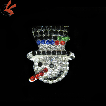 hot sale rhinestone snowman brooch for chrismas gift