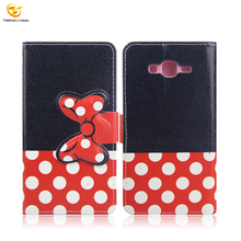 For Samsung J7 Protective Flip stand Wallet Leather Case with Bow-knot Button