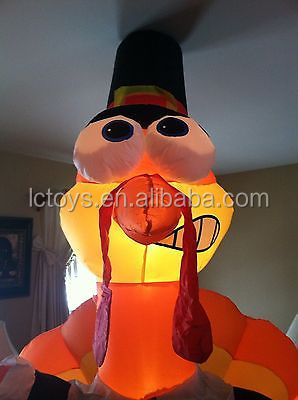 Hot sale giant cartoon animals modle inflatable turkey with led light