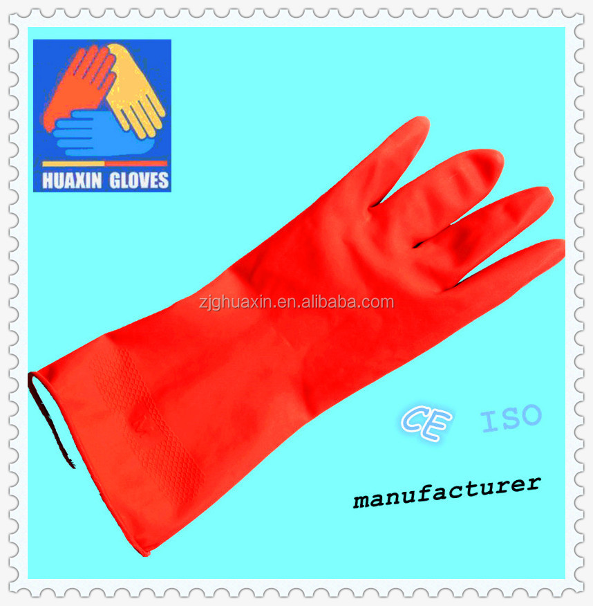 latex rubber shorts/Lengthen household cleaning latex gloves/ long cuff warm latex kitchen glove/ big size rubber gloves