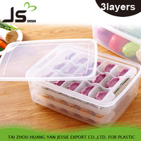 Convenient Useful Non-stick Bottom PP Microwave Dumpling Crisper Box Oven with Three Layers Food Tray