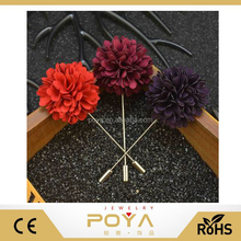 POYA Jewelry Classic Men's Brooch, Mixing Color Petals Combination Of Long Needle Style Brooch Pin