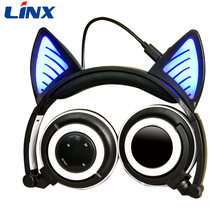 2017 Cute Kid Stereo Bluetooth Headset With Light up Cat ears