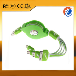 High quality 4 in 1 Retractable 2.1A Fast Speed Multi USB data charging cable for mobile