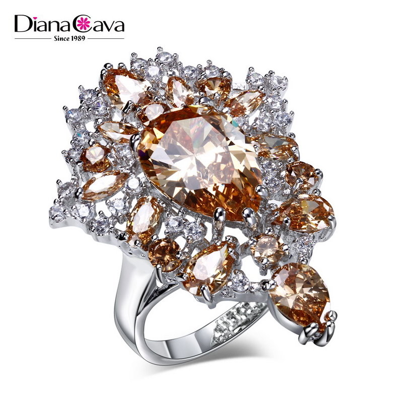 Newest Party Costume Jewelry Update Fashion Color Crystal Women Unique Cluster Ring
