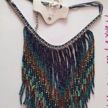 Colorful glass beads+3mm Bead Chain Bohemian Fashion Necklace Jewellery