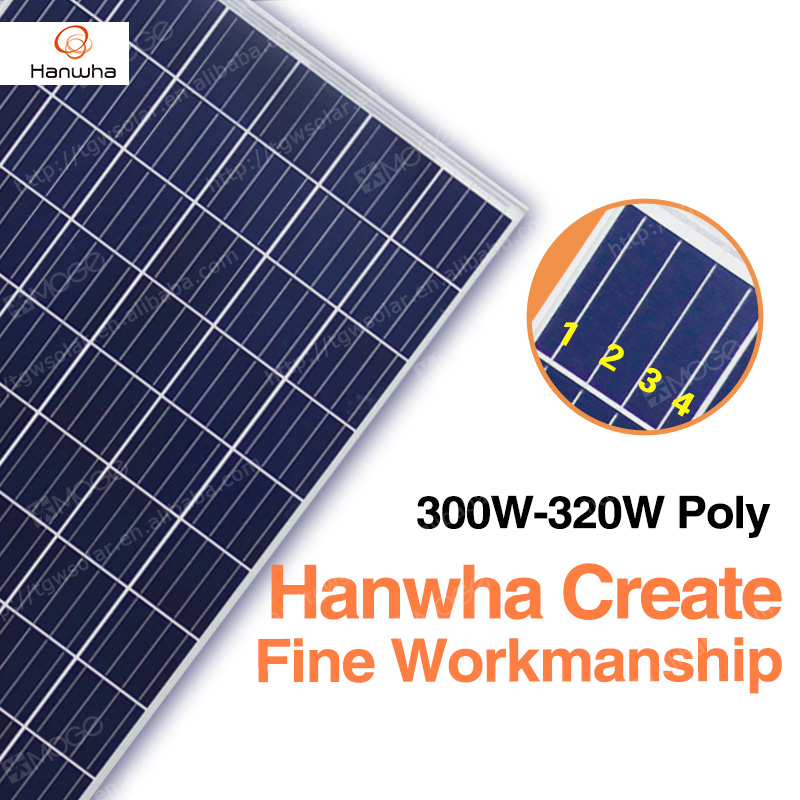 Hanwha 36v A grade the lowest price 300w 305w 310w 315w 320w solarpanel,best sold in pakistan lahore