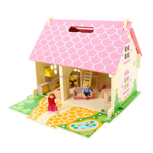 2-storey wooden doll house with furnitures toy