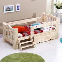 Solid wood children's bed with storage with guard rails
