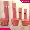 Pink Square Shape Plastic Cosmetic Bottle And Jar Set Cream Jar And Lotion Bottle