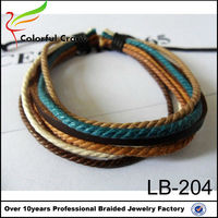 best selling and vintage style leather +wax rope eight wrap braided bracelet,western type adjustable woven bracelet men