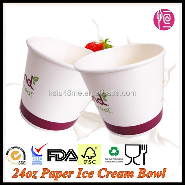 24oz Paper Ice Cream Bowl/Frozen Yogurt Cup