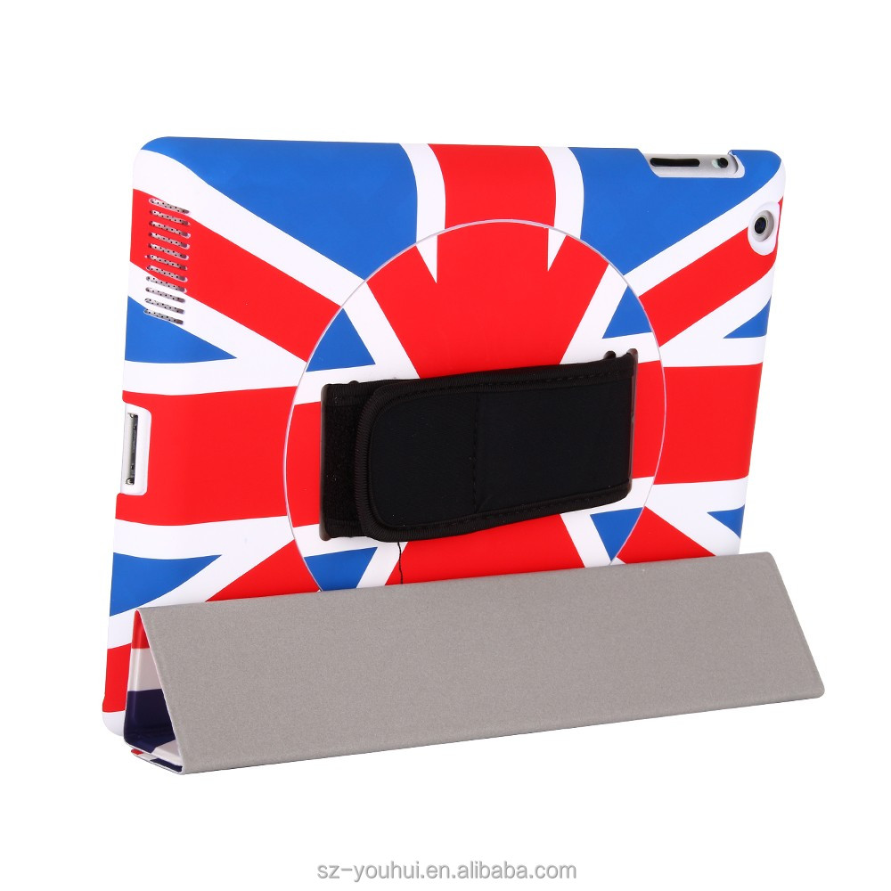 New arrival stylish pu leather stand print case for iPad 2/3/4