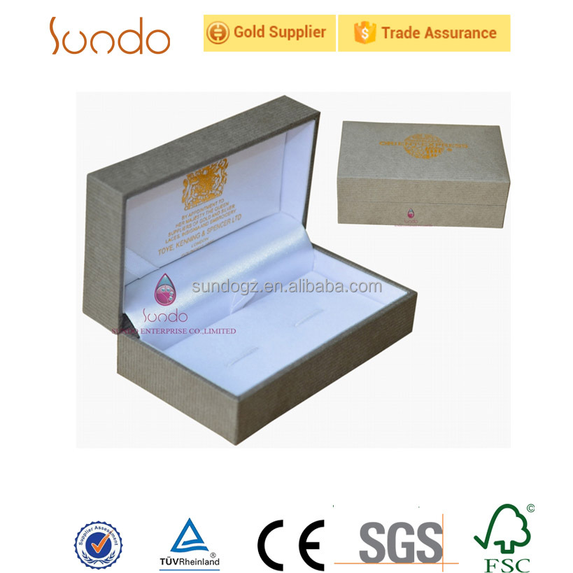 Online shopping PU leather coating wooden cufflink box packaging