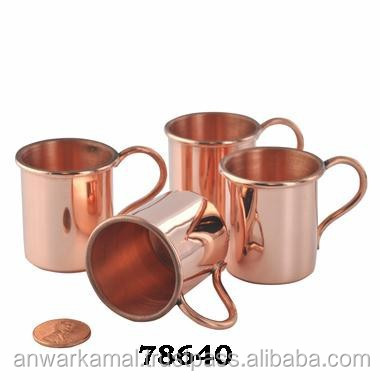 Set of 4 Copper Beer Mugs with Brass Handle and Nickel Lined Moscow Mule Copper Beer Mugs
