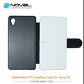 Luxury sublimaion leather wallet case for Sony Z4