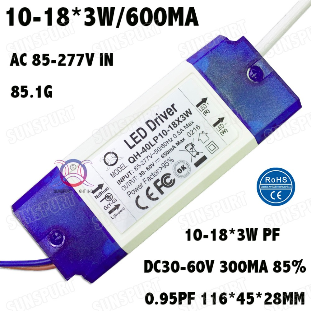 Driver High PF 36W AC85-277V Constant Current LED Driver 10-18x3W 600mA DC30-60V LED Power Supply For Ceiling Lamp